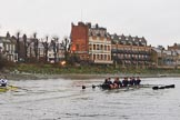 "The Boat Race season 2018 - Women's Boat Race Trial Eights (OUWBC, Oxford): ""Great Typhoon"" and ""Coursing River"" at the ""White Hart"" pub, just behind Barnes Railway Bridge. River Thames between Putney Bridge and Mortlake, London SW15,  United Kingdom, on 21 January 2018 at 14:44, image #156"