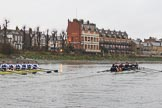 "The Boat Race season 2018 - Women's Boat Race Trial Eights (OUWBC, Oxford): ""Great Typhoon"" and ""Coursing River"" at the ""White Hart"" pub, just behind Barnes Railway Bridge. River Thames between Putney Bridge and Mortlake, London SW15,  United Kingdom, on 21 January 2018 at 14:44, image #157"