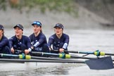 """The Boat Race season 2018 - Women's Boat Race Trial Eights (OUWBC, Oxford): """"Great Typhoon""""  on the last part of the race, here 3 Madeline Goss, 2 Laura Depner, bow Matilda Edwards. River Thames between Putney Bridge and Mortlake, London SW15,  United Kingdom, on 21 January 2018 at 14:44, image #158"""