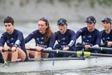 """The Boat Race season 2018 - Women's Boat Race Trial Eights (OUWBC, Oxford): """"Great Typhoon""""  on the last part of the race, here stroke Beth Bridgman, 7 Juliette Perry, 6 Katherine Erickson, 5 Morgan McGovern, 4 Anna Murgatroyd. River Thames between Putney Bridge and Mortlake, London SW15,  United Kingdom, on 21 January 2018 at 14:44, image #159"""