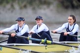 """The Boat Race season 2018 - Women's Boat Race Trial Eights (OUWBC, Oxford): """"Coursing River"""", here 3 Stefanie Zekoll, 2 Rachel Anderson, bow Sarah Payne-Riches. River Thames between Putney Bridge and Mortlake, London SW15,  United Kingdom, on 21 January 2018 at 14:44, image #160"""