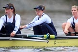 """The Boat Race season 2018 - Women's Boat Race Trial Eights (OUWBC, Oxford): """"Coursing River""""  - here  7 Juliette Perry, 6 Katherine Erickson, 5 Morgan McGovern. River Thames between Putney Bridge and Mortlake, London SW15,  United Kingdom, on 21 January 2018 at 14:44, image #161"""