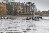"The Boat Race season 2018 - Women's Boat Race Trial Eights (OUWBC, Oxford): ""Great Typhoon"" and ""Coursing River"" a few hundred yards away from the finish line. River Thames between Putney Bridge and Mortlake, London SW15,  United Kingdom, on 21 January 2018 at 14:45, image #162"