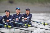 """The Boat Race season 2018 - Women's Boat Race Trial Eights (OUWBC, Oxford): """"Great Typhoon"""" in the rain, here 3 Stefanie Zekoll, 2 Rachel Anderson, bow Sarah Payne-Riches. River Thames between Putney Bridge and Mortlake, London SW15,  United Kingdom, on 21 January 2018 at 14:45, image #163"""