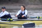 "The Boat Race season 2018 - Women's Boat Race Trial Eights (OUWBC, Oxford): ""Coursing River"" in the rain, here 2 Rachel Anderson, bow Sarah Payne-Riches. River Thames between Putney Bridge and Mortlake, London SW15,  United Kingdom, on 21 January 2018 at 14:46, image #165"