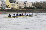 """The Boat Race season 2018 - Women's Boat Race Trial Eights (OUWBC, Oxford): """"Coursing River"""" about to cross the finish line, here cox Ellie Shearer, stroke Beth Bridgman, 7 Juliette Perry, 6 Katherine Erickson, 5 Morgan McGovern, 4 Anna Murgatroyd, 3 Stefanie Zekoll, 2 Rachel Anderson, bow Sarah Payne-Riches. River Thames between Putney Bridge and Mortlake, London SW15,  United Kingdom, on 21 January 2018 at 14:46, image #171"""