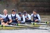 """The Boat Race season 2018 - Women's Boat Race Trial Eights (OUWBC, Oxford): """"Coursing River"""" after the race, here 5 Morgan McGovern, 4 Anna Murgatroyd, 3 Stefanie Zekoll, 2 Rachel Anderson, bow Sarah Payne-Riches. River Thames between Putney Bridge and Mortlake, London SW15,  United Kingdom, on 21 January 2018 at 14:47, image #176"""