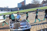 The Women's Boat Race season 2018 - fixture CUWBC vs. ULBC: The CUWBC crew carrying their boat from the boat house to the river. River Thames between Putney Bridge and Mortlake, London SW15,  United Kingdom, on 17 February 2018 at 12:28, image #2