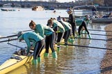 The Women's Boat Race season 2018 - fixture CUWBC vs. ULBC: CUWBC getting their boat ready. River Thames between Putney Bridge and Mortlake, London SW15,  United Kingdom, on 17 February 2018 at 12:29, image #3