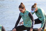 The Women's Boat Race season 2018 - fixture CUWBC vs. ULBC: CUWBC 2 seat Myriam Goudet-Boukhatmi, and bow Olivia Coffey. River Thames between Putney Bridge and Mortlake, London SW15,  United Kingdom, on 17 February 2018 at 12:29, image #4