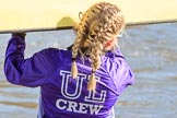 The Women's Boat Race season 2018 - fixture CUWBC vs. ULBC: ULBC bow Ally French. River Thames between Putney Bridge and Mortlake, London SW15,  United Kingdom, on 17 February 2018 at 12:31, image #10