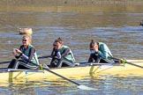 The Women's Boat Race season 2018 - fixture CUWBC vs. ULBC: CUWBC getting ready - 3 Alice White, 2 Myriam Goudet-Boukhatmi, bow Olivia Coffey. River Thames between Putney Bridge and Mortlake, London SW15,  United Kingdom, on 17 February 2018 at 12:32, image #11
