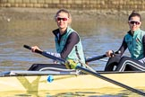 The Women's Boat Race season 2018 - fixture CUWBC vs. ULBC: OUWBC 3 seat Alice White and 2 Myriam Goudet-Boukhatmi. River Thames between Putney Bridge and Mortlake, London SW15,  United Kingdom, on 17 February 2018 at 12:32, image #12