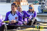 The Women's Boat Race season 2018 - fixture CUWBC vs. ULBC: ULBC getting ready - 3 Fionnuala Gannon, 2 Robyn Hart-Winks, bow Ally French. River Thames between Putney Bridge and Mortlake, London SW15,  United Kingdom, on 17 February 2018 at 12:33, image #14