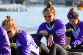 The Women's Boat Race season 2018 - fixture CUWBC vs. ULBC: ULBC 4 seat Katherine Barnhill, 3 Fionnuala Gannon, 2 Robyn Hart-Winks. River Thames between Putney Bridge and Mortlake, London SW15,  United Kingdom, on 17 February 2018 at 12:33, image #15
