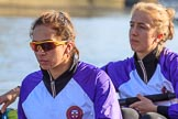 The Women's Boat Race season 2018 - fixture CUWBC vs. ULBC: The ULBC Eight, here 7 Jordan Cole-Huissan, 6 Oonagh Cousins. River Thames between Putney Bridge and Mortlake, London SW15,  United Kingdom, on 17 February 2018 at 12:33, image #16