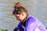 The Women's Boat Race season 2018 - fixture CUWBC vs. ULBC: ULBC 3 seat Fionnuala Gannon. River Thames between Putney Bridge and Mortlake, London SW15,  United Kingdom, on 17 February 2018 at 12:33, image #18