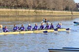 The Women's Boat Race season 2018 - fixture CUWBC vs. ULBC: ULBC on the way to Putney Bridge, before the race - cox Lauren Holland, stroke Issy Powel, 7 Jordan Cole-Huissan, 6 Oonagh Cousins, 5 Hannah Roberts, 4 Katherine Barnhill, 3 Fionnuala Gannon, 2 Robyn Hart-Winks, bow Ally French. River Thames between Putney Bridge and Mortlake, London SW15,  United Kingdom, on 17 February 2018 at 12:35, image #22