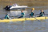 The Women's Boat Race season 2018 - fixture CUWBC vs. ULBC: CUWBC on the way to Putney Bridge, before the race - cox Sophie Shapter, stroke Tricia Smith, 7 Imogen Grant, 6 Anne Beenken. River Thames between Putney Bridge and Mortlake, London SW15,  United Kingdom, on 17 February 2018 at 12:35, image #24