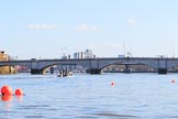 The Women's Boat Race season 2018 - fixture CUWBC vs. ULBC: Putney Bridge on a beautiful winter day, with the umpire's boat on the left. River Thames between Putney Bridge and Mortlake, London SW15,  United Kingdom, on 17 February 2018 at 12:54, image #25