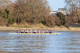 The Women's Boat Race season 2018 - fixture CUWBC vs. ULBC: ULBC on the Wandsworth side of Putney Bridge, before the race - cox Lauren Holland, stroke Issy Powel, 7 Jordan Cole-Huissan, 6 Oonagh Cousins, 5 Hannah Roberts, 4 Katherine Barnhill, 3 Fionnuala Gannon, 2 Robyn Hart-Winks, bow Ally French. River Thames between Putney Bridge and Mortlake, London SW15,  United Kingdom, on 17 February 2018 at 13:01, image #27