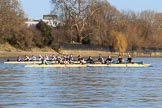 The Women's Boat Race season 2018 - fixture CUWBC vs. ULBC: The ULBC and CUWBC boats together before the start of the race. River Thames between Putney Bridge and Mortlake, London SW15,  United Kingdom, on 17 February 2018 at 13:01, image #28