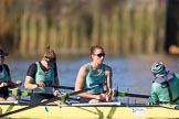 The Women's Boat Race season 2018 - fixture CUWBC vs. ULBC: CUWBC getting ready for the race - 6 Anne Beenken, 7 Imogen Grant, stroke Tricia Smith, cox Sophie Shapter. River Thames between Putney Bridge and Mortlake, London SW15,  United Kingdom, on 17 February 2018 at 13:06, image #31