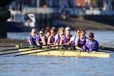 The Women's Boat Race season 2018 - fixture CUWBC vs. ULBC: ULBC at Putney Bridge, getting ready for the race - bow Ally French, 2 Robyn Hart-Winks, 3 Fionnuala Gannon, 4 Katherine Barnhill, 5 Hannah Roberts, 6 Oonagh Cousins, 7 Jordan Cole-Huissan, stroke Issy Powel, cox Lauren Holland. River Thames between Putney Bridge and Mortlake, London SW15,  United Kingdom, on 17 February 2018 at 13:08, image #34