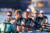 The Women's Boat Race season 2018 - fixture CUWBC vs. ULBC: Waiting for the race to be started - CUWBC with cox Sophie Shapter, stroke Tricia Smith, 7 Imogen Grant, 6 Anne Beenken, 5 Thea Zabell, 4 Paula Wesselmann, 3 Alice White, 2 Myriam Goudet-Boukhatmi, bow Olivia Coffey. River Thames between Putney Bridge and Mortlake, London SW15,  United Kingdom, on 17 February 2018 at 13:09, image #36
