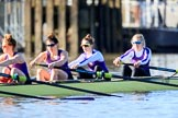 The Women's Boat Race season 2018 - fixture CUWBC vs. ULBC: Waiting for the race to be started - ULBC with 4 Paula Wesselmann, 3 Alice White, 2 Myriam Goudet-Boukhatmi, bow Olivia Coffey. River Thames between Putney Bridge and Mortlake, London SW15,  United Kingdom, on 17 February 2018 at 13:09, image #37