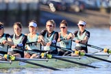 The Women's Boat Race season 2018 - fixture CUWBC vs. ULBC: The race has been started - CUWBC with 6 Anne Beenken, 5 Thea Zabell, 4 Paula Wesselmann, 3 Alice White, 2 Myriam Goudet-Boukhatmi, bow Olivia Coffey. River Thames between Putney Bridge and Mortlake, London SW15,  United Kingdom, on 17 February 2018 at 13:09, image #38