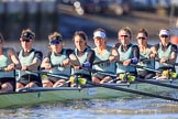 The Women's Boat Race season 2018 - fixture CUWBC vs. ULBC: The race has been started - CUWBC with stroke Tricia Smith, 7 Imogen Grant, 6 Anne Beenken, 5 Thea Zabell, 4 Paula Wesselmann, 3 Alice White, 2 Myriam Goudet-Boukhatmi, bow Olivia Coffey. River Thames between Putney Bridge and Mortlake, London SW15,  United Kingdom, on 17 February 2018 at 13:09, image #39
