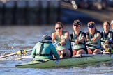The Women's Boat Race season 2018 - fixture CUWBC vs. ULBC: The race has been started - CUWBC with ox Sophie Shapter, stroke Tricia Smith, 7 Imogen Grant, 6 Anne Beenken, 5 Thea Zabell, 4 Paula Wesselmann. River Thames between Putney Bridge and Mortlake, London SW15,  United Kingdom, on 17 February 2018 at 13:09, image #40