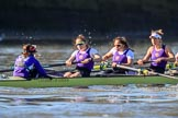 The Women's Boat Race season 2018 - fixture CUWBC vs. ULBC: The race has been started - ULBC with cox Lauren Holland, stroke Issy Powel, 7 Jordan Cole-Huissan, 6 Oonagh Cousins. River Thames between Putney Bridge and Mortlake, London SW15,  United Kingdom, on 17 February 2018 at 13:09, image #43