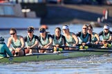 The Women's Boat Race season 2018 - fixture CUWBC vs. ULBC: The race has been started - OUWBC with cox Sophie Shapter, stroke Tricia Smith, 7 Imogen Grant, 6 Anne Beenken, 5 Thea Zabell, 4 Paula Wesselmann, 3 Alice White, 2 Myriam Goudet-Boukhatmi, bow Olivia Coffey. River Thames between Putney Bridge and Mortlake, London SW15,  United Kingdom, on 17 February 2018 at 13:09, image #46