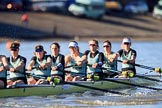 The Women's Boat Race season 2018 - fixture CUWBC vs. ULBC: The race has been started - OUWBC with  stroke Tricia Smith, 7 Imogen Grant, 6 Anne Beenken, 5 Thea Zabell, 4 Paula Wesselmann, 3 Alice White, 2 Myriam Goudet-Boukhatmi, bow Olivia Coffey. River Thames between Putney Bridge and Mortlake, London SW15,  United Kingdom, on 17 February 2018 at 13:09, image #47