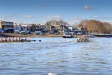 The Women's Boat Race season 2018 - fixture CUWBC vs. ULBC: CUWBC, on the right, ahead of ULBC at the Putney boat houses. River Thames between Putney Bridge and Mortlake, London SW15,  United Kingdom, on 17 February 2018 at 13:10, image #50