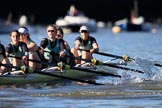 The Women's Boat Race season 2018 - fixture CUWBC vs. ULBC: CUWBC extending their lead near the Putney boat houses, here 6 Anne Beenken, 5 Thea Zabell, 4 Paula Wesselmann, 3 Alice White, 2 Myriam Goudet-Boukhatmi, bow Olivia Coffey. River Thames between Putney Bridge and Mortlake, London SW15,  United Kingdom, on 17 February 2018 at 13:10, image #52