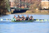 The Women's Boat Race season 2018 - fixture CUWBC vs. ULBC: The CUWBC Eight in the lead near Harrords Depository, approaching Hammersmith Bridge - cox Sophie Shapter, stroke Tricia Smith, 7 Imogen Grant, 6 Anne Beenken, 5 Thea Zabell, 4 Paula Wesselmann, 3 Alice White, 2 Myriam Goudet-Boukhatmi, bow Olivia Coffey. River Thames between Putney Bridge and Mortlake, London SW15,  United Kingdom, on 17 February 2018 at 13:14, image #80