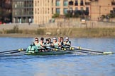 The Women's Boat Race season 2018 - fixture CUWBC vs. ULBC: The CUWBC Eight in the lead near Harrords Depository, approaching Hammersmith Bridge - cox Sophie Shapter, stroke Tricia Smith, 7 Imogen Grant, 6 Anne Beenken, 5 Thea Zabell, 4 Paula Wesselmann, 3 Alice White, 2 Myriam Goudet-Boukhatmi, bow Olivia Coffey. River Thames between Putney Bridge and Mortlake, London SW15,  United Kingdom, on 17 February 2018 at 13:14, image #83