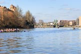 The Women's Boat Race season 2018 - fixture CUWBC vs. ULBC: ULBC, on the left, trailing behind CUWBC near Harrods Depository, approaching Hammersmith Bridge. River Thames between Putney Bridge and Mortlake, London SW15,  United Kingdom, on 17 February 2018 at 13:15, image #84
