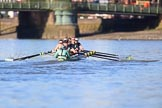 The Women's Boat Race season 2018 - fixture CUWBC vs. ULBC: The CUWBC Eight near Hammersmith Bridge - cox Sophie Shapter, stroke Tricia Smith, 7 Imogen Grant, 6 Anne Beenken, 5 Thea Zabell, 4 Paula Wesselmann, 3 Alice White, 2 Myriam Goudet-Boukhatmi, bow Olivia Coffey. River Thames between Putney Bridge and Mortlake, London SW15,  United Kingdom, on 17 February 2018 at 13:15, image #86