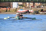 The Women's Boat Race season 2018 - fixture CUWBC vs. ULBC: The CUWBC Eight near Hammersmith Bridge - cox Sophie Shapter, stroke Tricia Smith, 7 Imogen Grant, 6 Anne Beenken, 5 Thea Zabell, 4 Paula Wesselmann, 3 Alice White, 2 Myriam Goudet-Boukhatmi, bow Olivia Coffey. River Thames between Putney Bridge and Mortlake, London SW15,  United Kingdom, on 17 February 2018 at 13:16, image #87