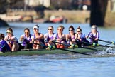 The Women's Boat Race season 2018 - fixture CUWBC vs. ULBC: The ULBC Eight near Hammersmith Bridge - cox Lauren Holland, stroke Issy Powel, 7 Jordan Cole-Huissan, 6 Oonagh Cousins, 5 Hannah Roberts, 4 Katherine Barnhill, 3 Fionnuala Gannon, 2 Robyn Hart-Winks, bow Ally French. River Thames between Putney Bridge and Mortlake, London SW15,  United Kingdom, on 17 February 2018 at 13:16, image #88