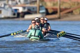 The Women's Boat Race season 2018 - fixture CUWBC vs. ULBC: The CUWBC Eight near Hammersmith Bridge - cox Sophie Shapter, stroke Tricia Smith, 7 Imogen Grant, 6 Anne Beenken, 5 Thea Zabell, 4 Paula Wesselmann, 3 Alice White, 2 Myriam Goudet-Boukhatmi, bow Olivia Coffey. River Thames between Putney Bridge and Mortlake, London SW15,  United Kingdom, on 17 February 2018 at 13:16, image #89