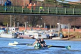 The Women's Boat Race season 2018 - fixture CUWBC vs. ULBC: The CUWBC Eight near Hammersmith Bridge - cox Sophie Shapter, stroke Tricia Smith, 7 Imogen Grant, 6 Anne Beenken, 5 Thea Zabell, 4 Paula Wesselmann, 3 Alice White, 2 Myriam Goudet-Boukhatmi, bow Olivia Coffey. River Thames between Putney Bridge and Mortlake, London SW15,  United Kingdom, on 17 February 2018 at 13:16, image #90