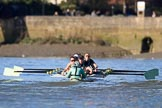 The Women's Boat Race season 2018 - fixture CUWBC vs. ULBC: The CUWBC Eight near Hammersmith Bridge - cox Sophie Shapter, stroke Tricia Smith, 7 Imogen Grant, 6 Anne Beenken, 5 Thea Zabell, 4 Paula Wesselmann, 3 Alice White, 2 Myriam Goudet-Boukhatmi, bow Olivia Coffey. River Thames between Putney Bridge and Mortlake, London SW15,  United Kingdom, on 17 February 2018 at 13:17, image #91