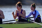 The Women's Boat Race season 2018 - fixture CUWBC vs. ULBC: ULBC 3 Fionnuala Gannon and 2 Robyn Hart-Winks resting after the first part of the race. River Thames between Putney Bridge and Mortlake, London SW15,  United Kingdom, on 17 February 2018 at 13:20, image #97