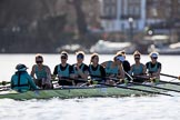 The Women's Boat Race season 2018 - fixture CUWBC vs. ULBC: The CUWBC Eight after winning the first part of the race at Hammersmith Bridge - cox Sophie Shapter, stroke Tricia Smith, 7 Imogen Grant, 6 Anne Beenken, 5 Thea Zabell, 4 Paula Wesselmann, 3 Alice White, 2 Myriam Goudet-Boukhatmi, bow Olivia Coffey. River Thames between Putney Bridge and Mortlake, London SW15,  United Kingdom, on 17 February 2018 at 13:26, image #102