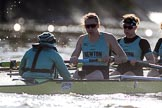 The Women's Boat Race season 2018 - fixture CUWBC vs. ULBC: The start to the second part of the race, here the CUWBC Eight with cox Sophie Shapter, stroke Tricia Smith, 7 Imogen Grant. River Thames between Putney Bridge and Mortlake, London SW15,  United Kingdom, on 17 February 2018 at 13:27, image #106